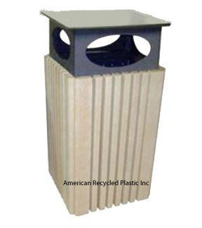 Beautiful and long-lasting: this Weathered Wood Heritage Deluxe Waste Receptacle has an optional raincap.  $825.00.  Comes in 6 colors!  FREE Shipping on all 2+ unit orders~ Check out all our pins at American Recycled Plastic or visit us online at www.itsrecycled.com #benches #tables #outdoorfurniture #patiofurniture #buyrecycled #recycled plastic #family business