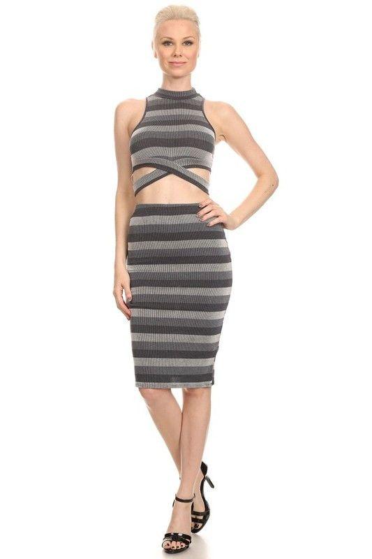 Stripe Body-con Dress with Cutouts