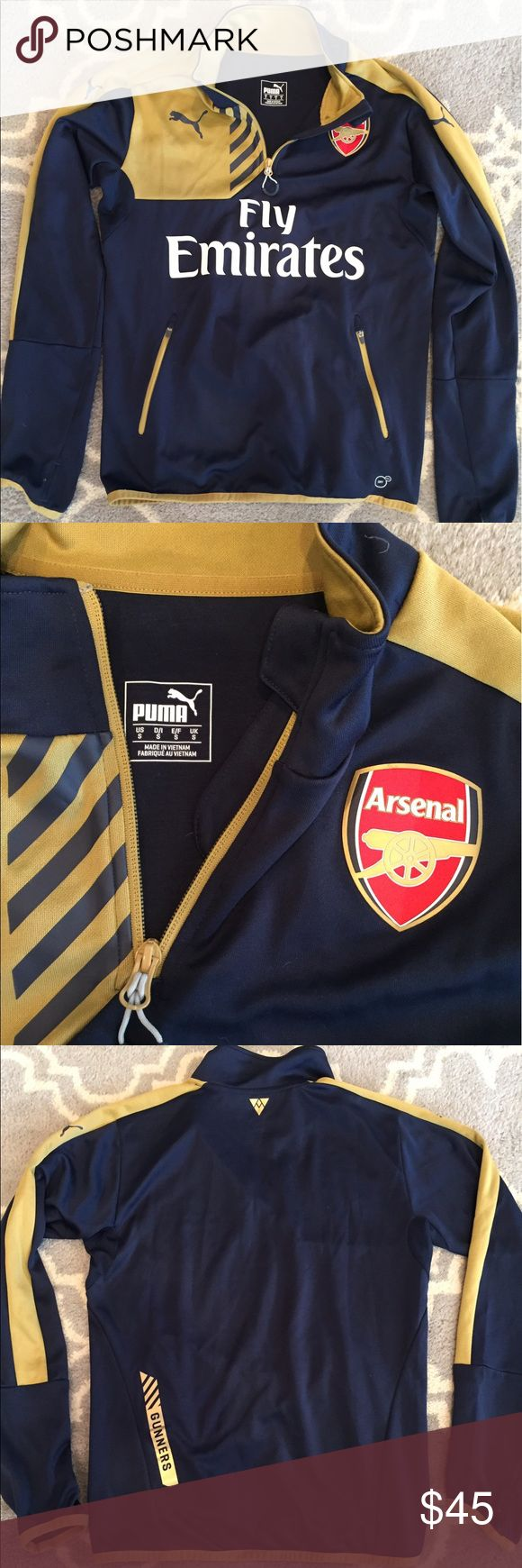 Fly Emirates Puma Pullover This is a mint condition, Fly Emirates pullover. Perfect condition and has thumb holes! Puma Jackets & Coats Performance Jackets