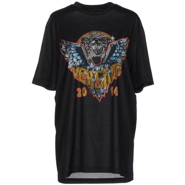 Versace T-shirt ($175) ❤ liked on Polyvore featuring tops, t-shirts, black, jersey tee, logo design t shirts, jersey t shirt, short sleeve tops and versace tee