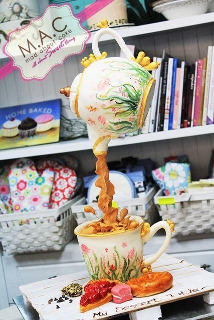 Teapot cake Defying Gravity cake