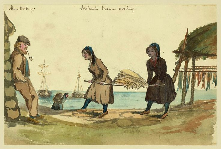 Title:Man working - Icelandic women workingCreator(s):Taylor, Bayard, 1825-1878, artistDate Created/Published:[1862]Medium:1 drawing : ink brush and watercolor over graphite underdrawing.Summary:Drawing shows a man leisurely smoking a pipe as he leans against a fisherman's hut watching two women carry a load of dried fish on wooden poles in Iceland. Taylor visited Iceland in 1862, perhaps en route to Russia.