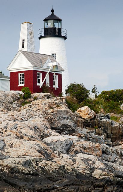 Pemaquid Light and exposed granite bedrock, New Harbor, Maine