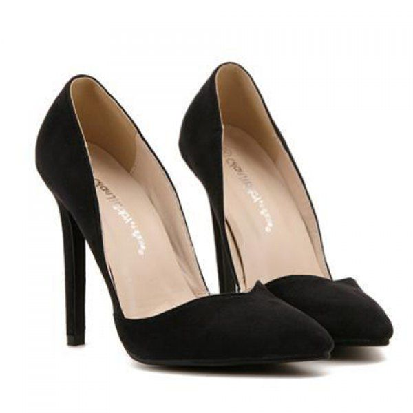 Fashionable Suede and Pointed Toe Design Women's Pumps, BLACK, 35 in Pumps | DressLily.com