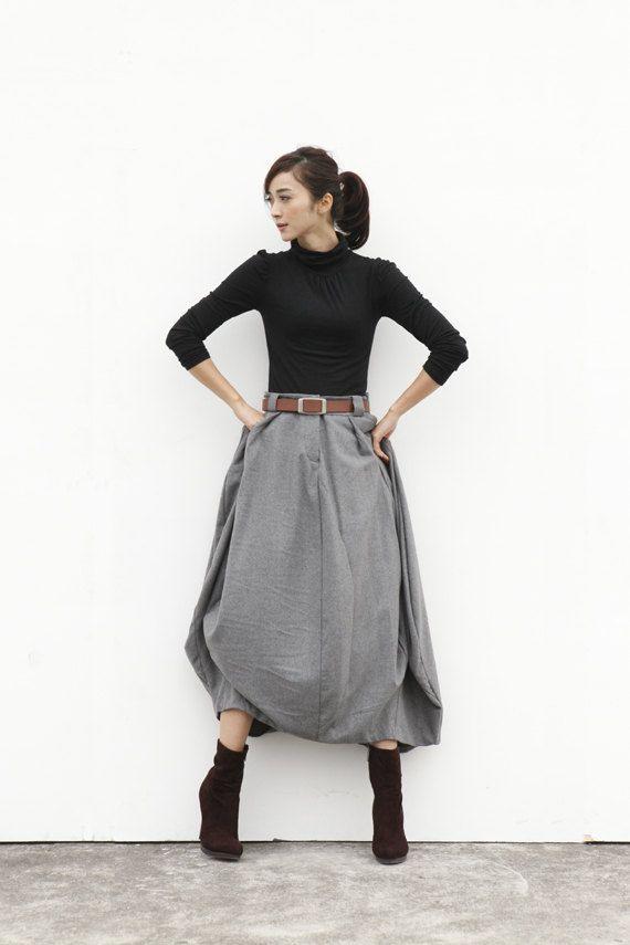 Maxi Skirt Lagenlook Woollen Skirt Sexy Bud por Sophiaclothing