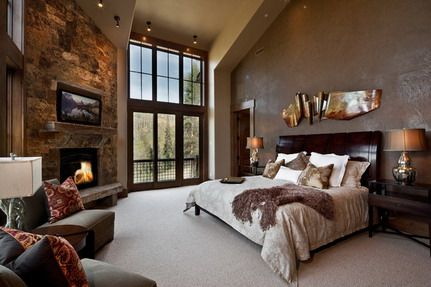 Elegant TV and Fireplace with Dark Wood Bed Furniture in Modern Bedroom Color Decorating Design Ideas