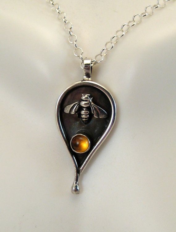 Sterling Silver Citrine Bee Pendant  Honey Drop Necklace