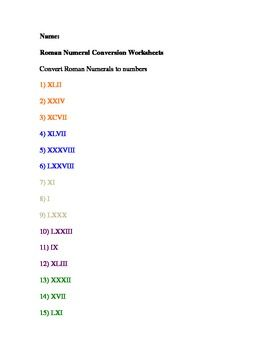 Roman Numeral Conversion Worksheets24 numbers to be converted to numbersThis is good for 3rd and 4th graders.A R Mathematics