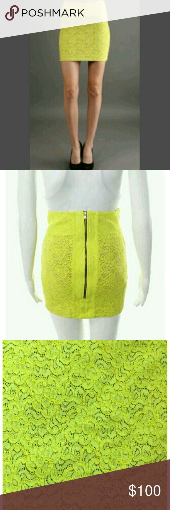 """Trendy Boulee Neon Yellow Green Lace Mini Skirt Brand new with tags.  Boulee Neon Yellow Green Chartreuse lace mini.  Size 4. Back Zip Closure has stretch. Fully lined. 53% Nylon 45% Cotton 2% Spandex.  26"""" W 34"""" Hip total length 16"""" Boulee Skirts Mini"""