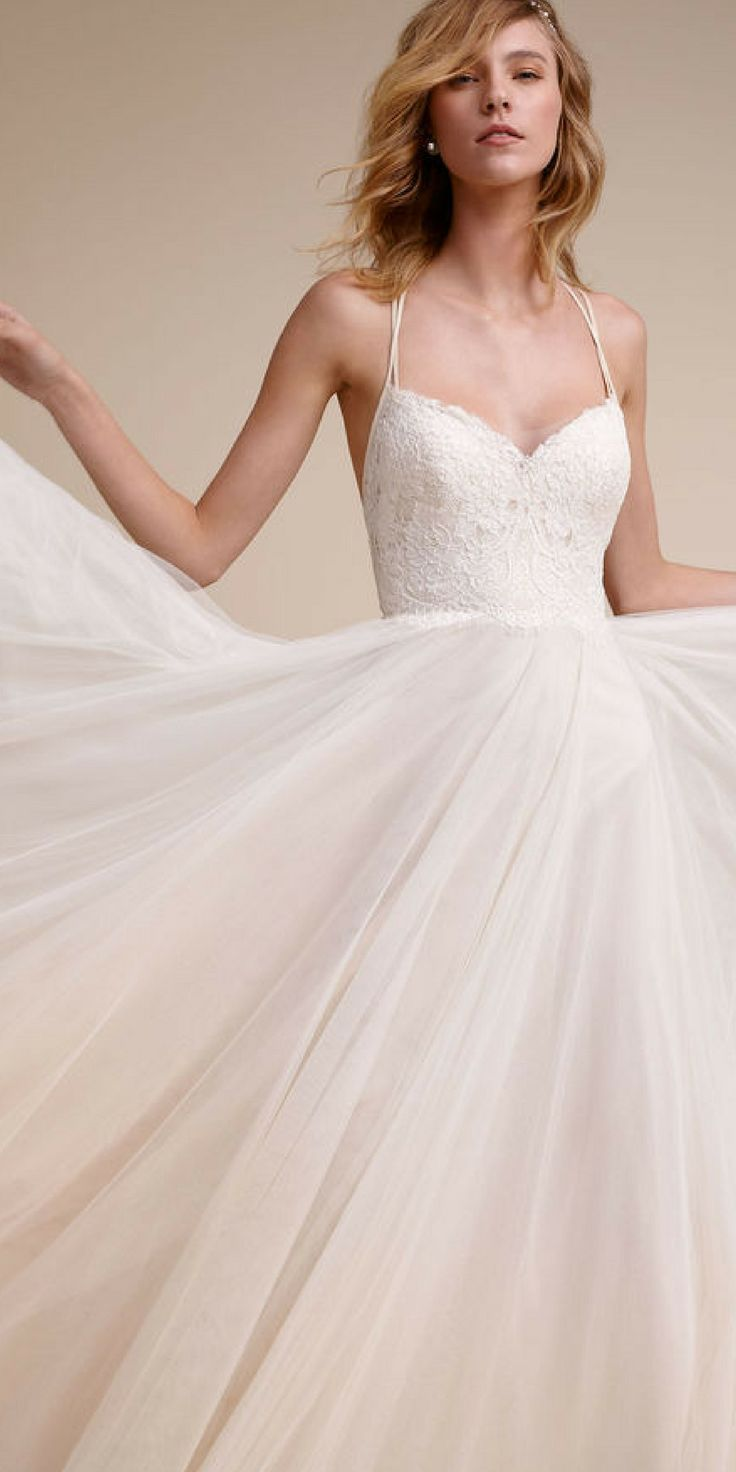 Watters  understands how to make a bride feel like a true beauty. Dainty straps  which create beautiful back detail, a dreamy lace bodice with scalloped  edging at the waist, and a full tulle skirt over soft almond-colored  lining give this gown its delicate charm. #weddingdresses #ad #weddingideas