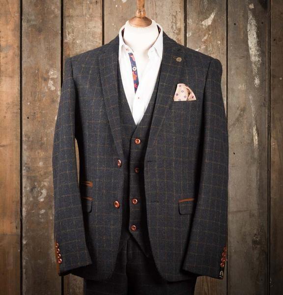 Marc Darcy Harris Heritage Tweed Suit Jacket - Navy Blue - Master Debonair