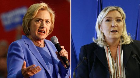 U.S. Democratic presidential candidate Hillary Clinton (L), Marine Le Pen, France's far-right National Front political party leader. © Reuters
