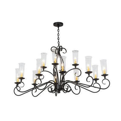2nd Ave Design Wallis Oval 14-Light Candle-Style Chandelier Finish: Cortez Gold, Shade: White Parchment