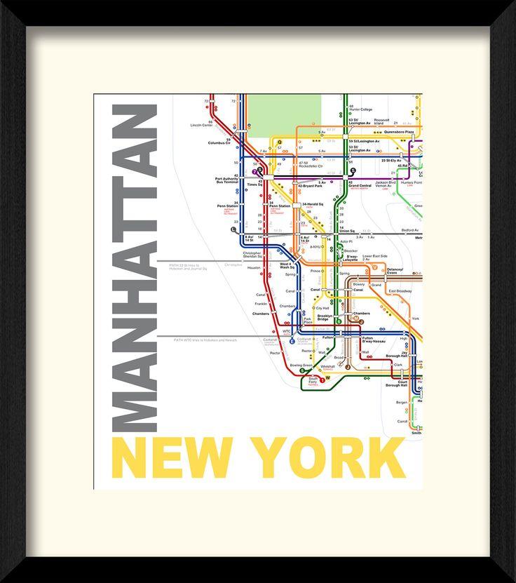 Manhattan New York Framed Graphic Art