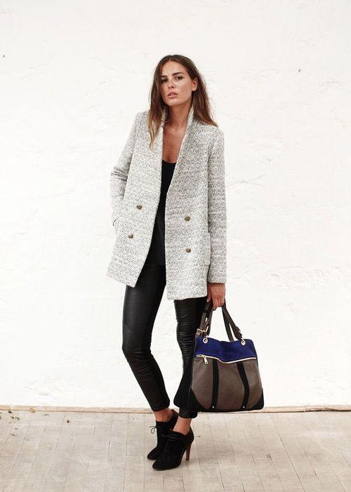 Leather leggings + black tee + light grey textured coat + suede booties + colour block tote