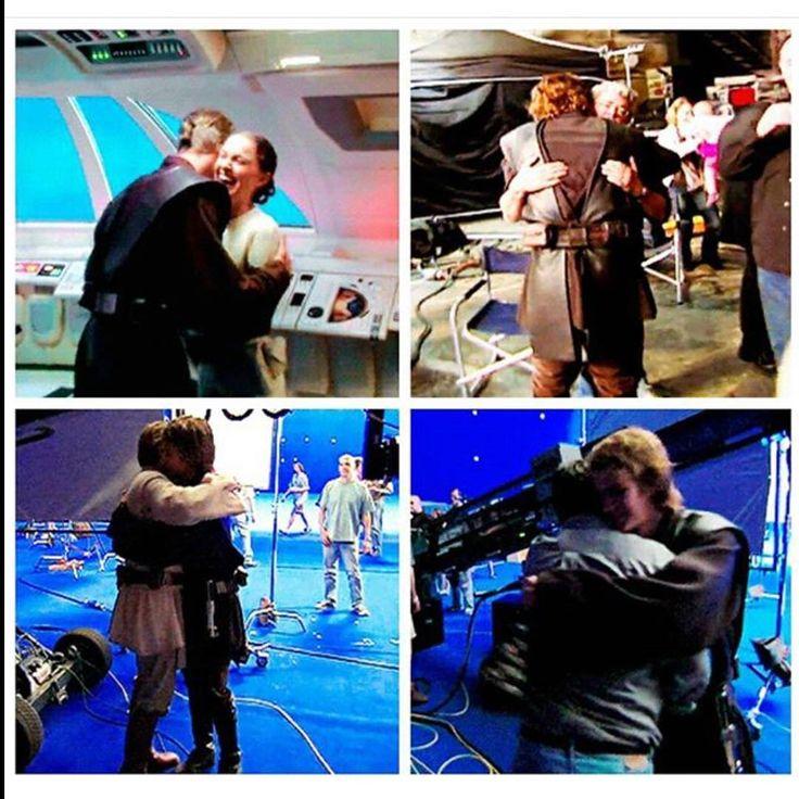 Hayden Christensen (Anakin Skywalker) giving hugs behind the scenes ... I want a hug from Anakin too