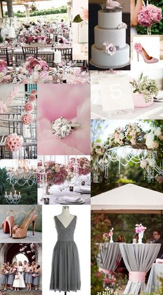 pink and gray - I love the arbor decorated with flowers and pearls and I especially love the idea with the bar tables in the bottom right corner!