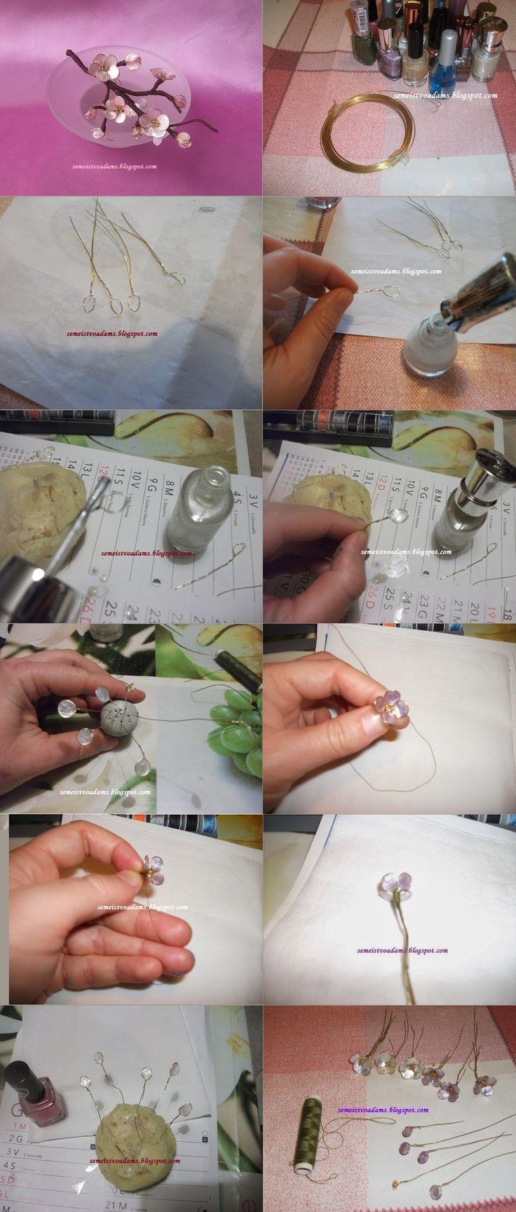 Wire cherry blossom flowers with nail polish step by step / Цветы из проволока и лака для ногтей by semeistvoadams.blogspot.com