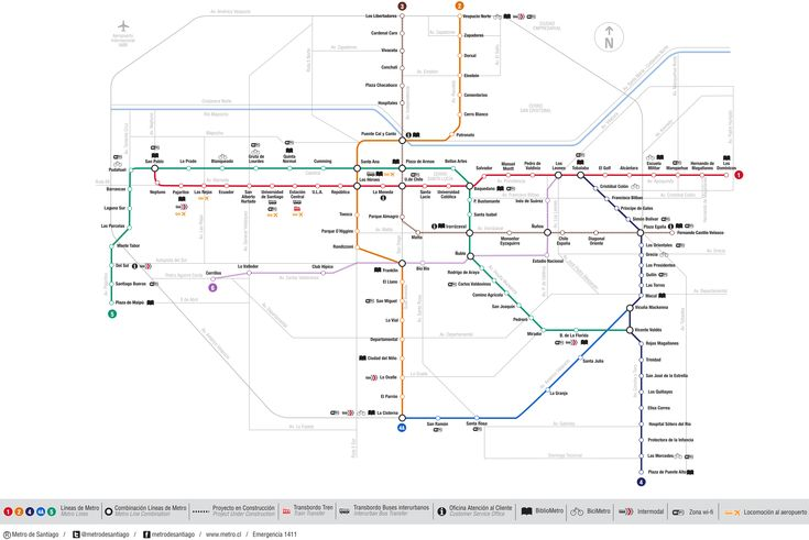 mapa do metro de Santiago - a linha vermelha passa em quase todos os pontos turísticos