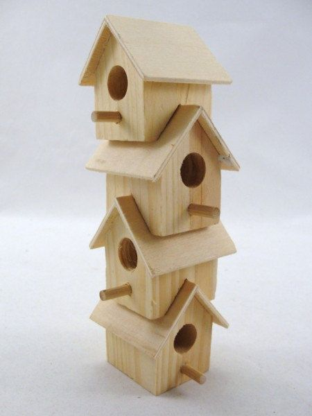 RESERVED Wooden stacking birdhouse DIY paint your own ser of 4