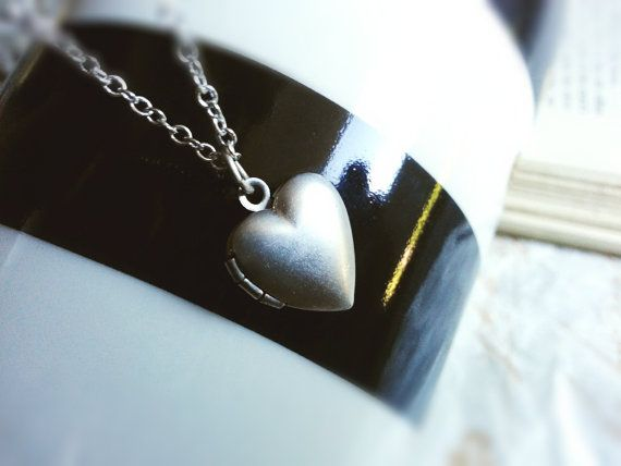 Tiny Matte Silver Heart Locket Matte Silver by PrettyPrettyJewels