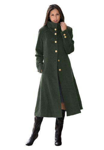 Jessica London Women's Plus Size Long Military Coat Dark Green,18. Polished military-style fit and flare womens plus size winter coat. Brass-look buttons, princess seams for shaping, and side pockets. fit and flare shape is tailored to the waist and beautifully flares out to the hem 44 length hits just below knee for a refined look classic stand-up collar refined long sleeves layer easily over plus size sweaters woolpolyester dry clean; imported Women plus size winter coat in sizes 12, 14…