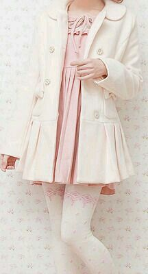 Pink dress with a white leather coat. The lace design on the tights is so simple but I think it really puts the whole outfit together