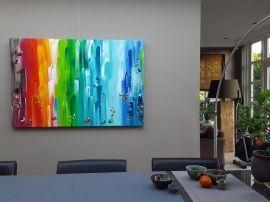 Camelot - groot abstract / modern kleurrijk regenboog-schilderij met verf-reliëf,  150 x 100 x 4,5 cm; door taupe STUDIO
