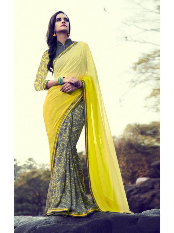 Lovable Yellow and Grey Printed Saree