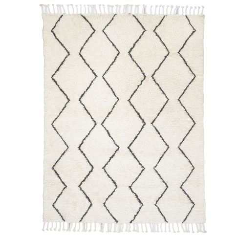 Wool rug in cream and graphite. Made in India from West Elm.