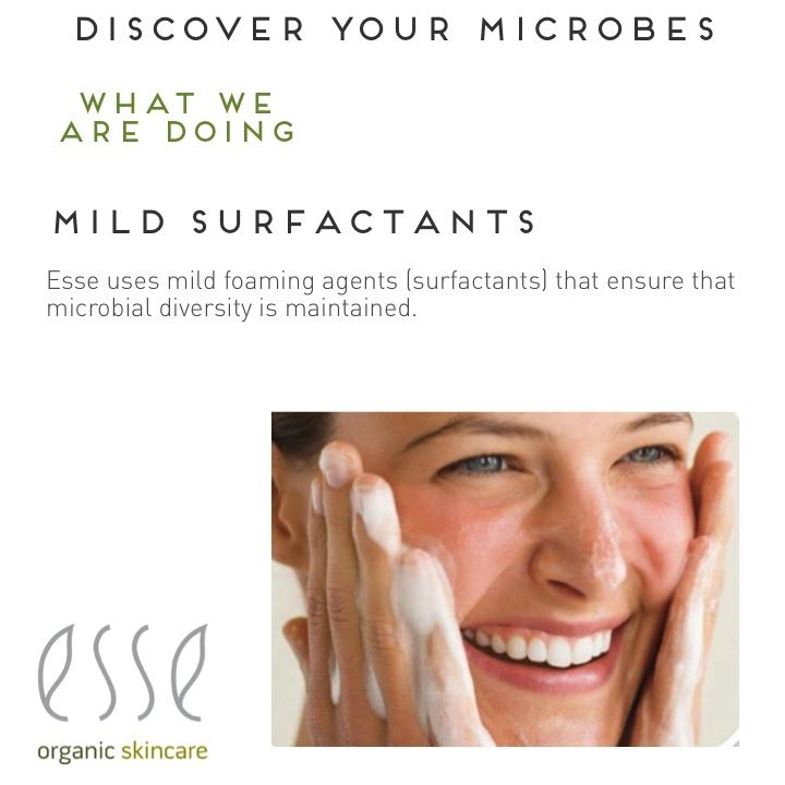 Did you know that skin needs good microbes to be healthy and to slow ageing. And did you know good mircobes can only colonise when skin is not stripped by strong surfactants (foaming agents). That's why it's so important for your skincare products to have mild surfactants that don't disrupt the microbial ecosystem. Learn more at www.esse.co.za