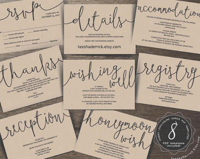 Wedding Insert Cards Pdf Template Instant Download Enclosure Card Registr Honeymoon Wish Wedding Invitations Printable Templates Wedding Invitation Inserts
