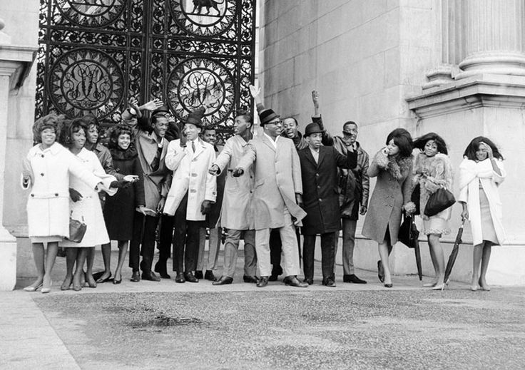 Tamla-Motown team photo. The Miracles, The Temptations, Martha & The Vandellas and The Supremes at Marble Arch, London 1965