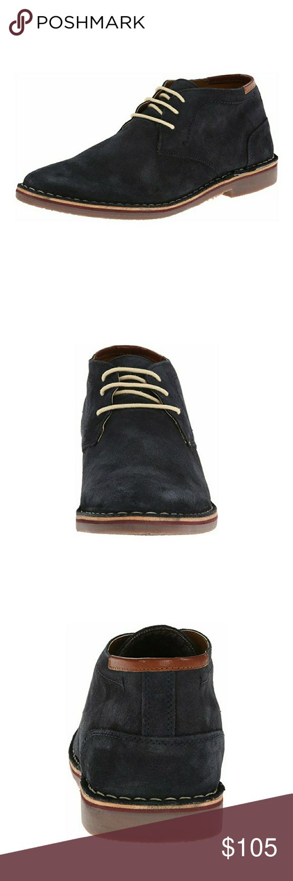 "'Boston' Men's Suede Chukka Boot Navy Suede Imported Synthetic sole Shaft measures approximately 3.5"" from arch Heel measures approximately 1"" Chukka boot in low-cut profile featuring three blind eyelets and striped midsole Kenneth Cole Reaction Shoes Chukka Boots"