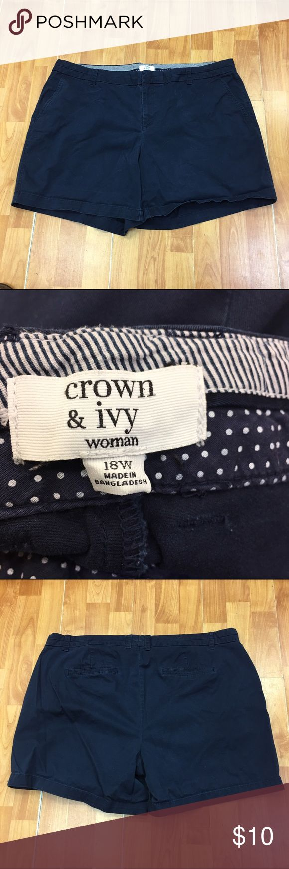 Crown & Ivy Woman Navy Shorts 18W Crown & Ivy Woman Navy Shorts 18W  Great pair of shorts.  Belt loops, four pockets.  Good used condition.  Wash wear and wear in stride but not worn out. Crown & Ivy Shorts