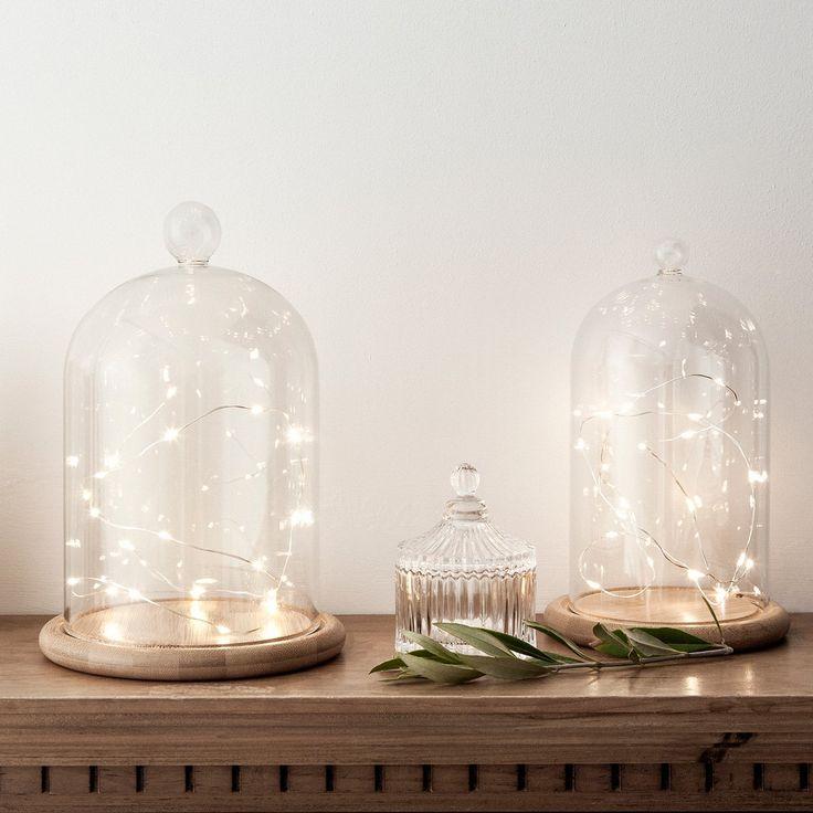 Guirlande Lumineuse à Piles avec 20 Micro LED Blanc Chaud sur Câble Argenté par Lights4fun: Amazon.fr: Luminaires et Eclairage