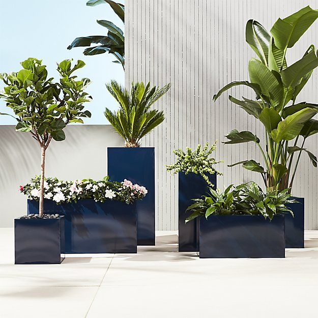 Shop blox hi-gloss large square navy planter.   Navy planter squares up sleek and modern.  Protected for indoor and outdoor settings, hi-gloss lacquered galvanized steel plays up refined industrial to dramatic effect.