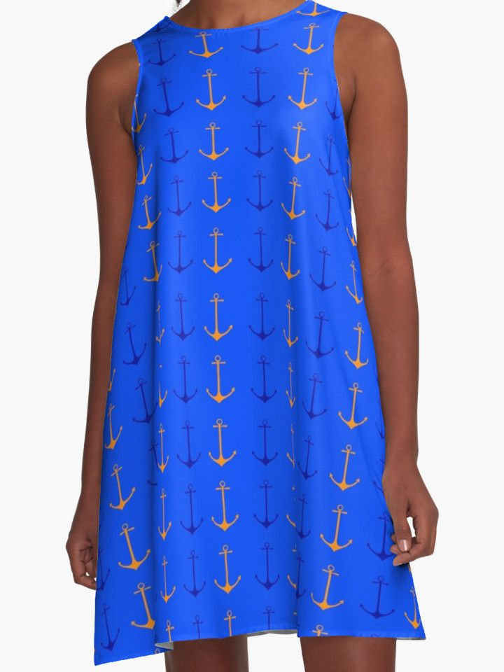 Anchors aweigh A- line Dress by scardesign11. #summer #summerdress #summer2017 #dress #fashion #giftsforher #navy #anchors #anchorsdress #navydress #sailing #sailingwear #yaght #travel #redbubble #scardesign