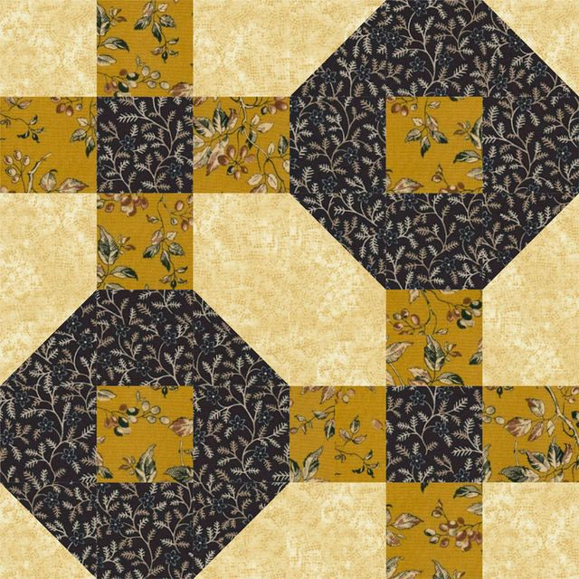 """Stitch a Splash of Color with Tile Puzzle Quilt Blocks: How to Make Tile Puzzle Quilt Blocks...Antique Tile is another easy Nancy Cabot block, and one of my favorites. The quilt block finishes at 12"""" x 12"""". To simplify instructions, I'll refer to the small units in the upper left and lower right of the design as a nine patches, and the remaining design as an 'O' unit."""
