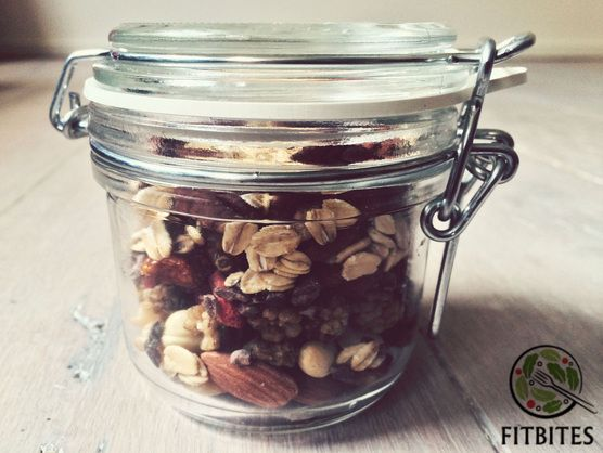 There is nothing more outstanding than a trail mix. You will get a strong energy dose plus that much needed protein (essential amino acids), antioxidants, vitamins, minerals and omega-3 fatty acids. The dried fruits satisfy sweet cravings and those fibre-rich seeds will heal your gut.  http://bit.ly/fitbitemix