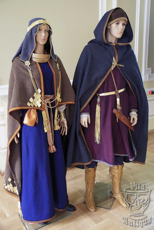 Archaeological reconstruction of Semigalian tribe male and female costumes (IX-XII century, Viking Period or Late Iron Age). Author of the reconstruction - archaeologist PhD Daiva Steponavičienė, Vilnius, Lithuania. Photographer - Ramunė Steponavičiūtė.  Costume is exhibited in Joniškis Museum of History and Culture, Lithuania. Original site: https://www.facebook.com/VitaAntiqua