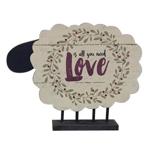 New Primitive Folk Art LOVE IS ALL YOU NEED Wood Sheep Shelf Sitter Sign #Unbranded #Country