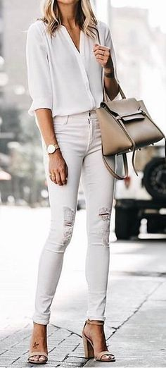 #summer #outfits White Blouse + Ripped Skinny Jeans