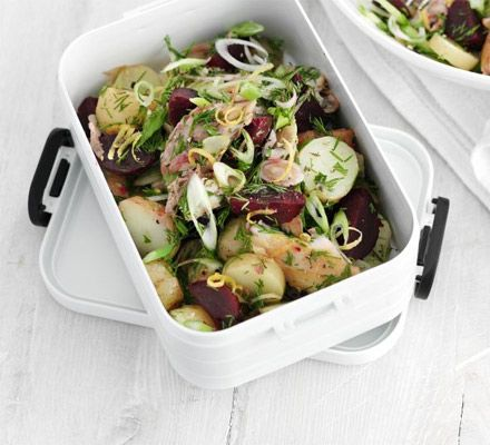 Pack your lunchbox with omega-3 rich smoked fish, new potatoes, beetroot and a light citrus dressing.  Maybe use salmon and add shaved fennel?