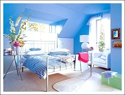 Great Blue Walls Bedroom Painting Designs