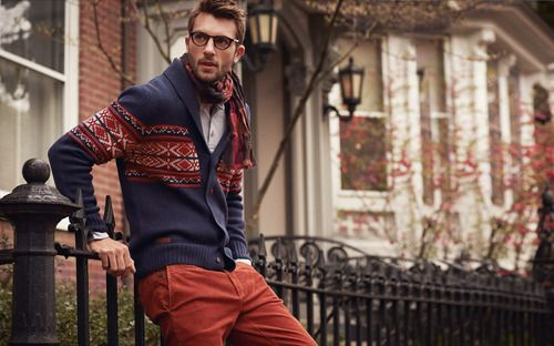 // shades of autumn: Cardigans, Autumn Fashion, Colors Pants, Colors Combos, Men Style, Men Fashion, Christmas Sweaters, Fall Sweaters, Red Pants