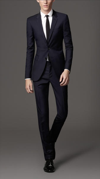Burberry Slim Fit Wool Mohair Suit in Blue for Men (true navy) would be great with a magenta pocket square!