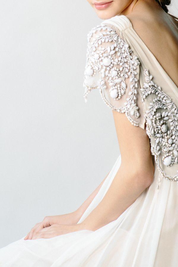 Stunning embellished wedding dress details by Rue de Seine