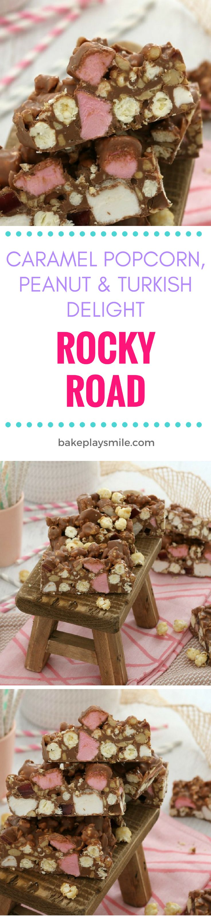 The most deliciously over-the-top Caramel Popcorn, Peanut & Turkish Delight Rocky Road ever!!! This is one for the total chocoholics out there!  #rockyroad #rocky #road #chocolate #caramel #popcorn #peanut #turkish #delight #recipe #easy #best #nobake #thermomix #conventional #kids