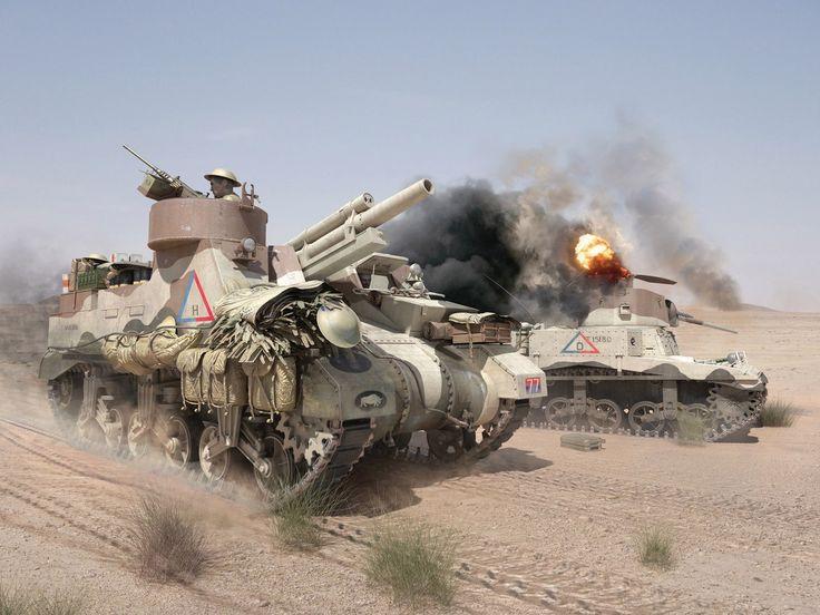 """un M3 Stuart, denominado """"Honey"""" afectuosamente por los carristas britanicos (lo certifica Bob Crisp en su libro Tanques en la Arena) bajo un impacto y al lado un M7 Priest."""